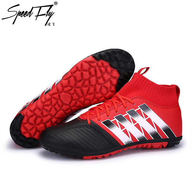 8895bff86 Speedfly Men Football Boots TF High Top Indoor Soccer Shoes Futsal Cleats  Professional Training Sport Shoes Sneakers Size 33-44