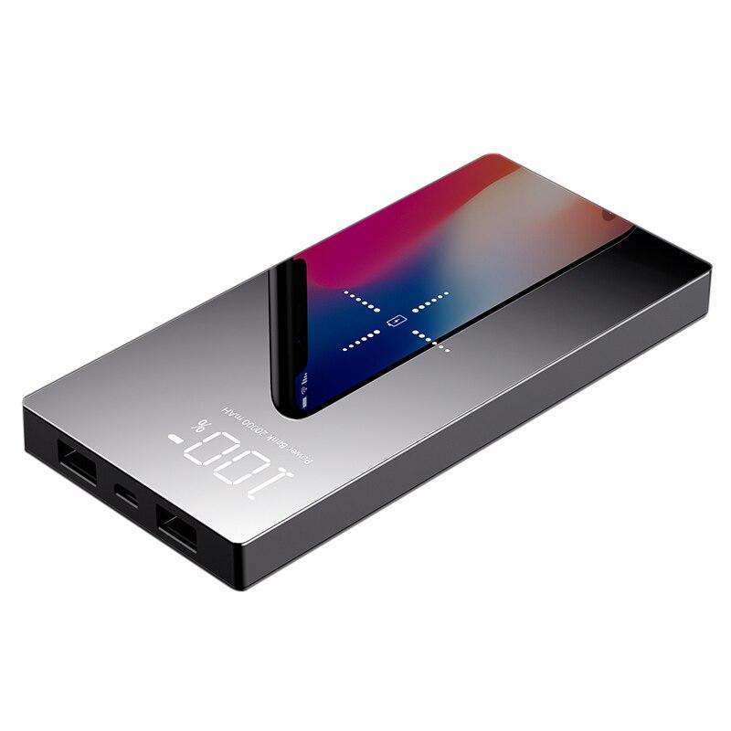 Batterie externe 20000 mAh Portable Double USB Charge Rapide banque d'alimentation de chargeur Sans Fil pour iPhone XS 8 batterie externe Charge powerbank