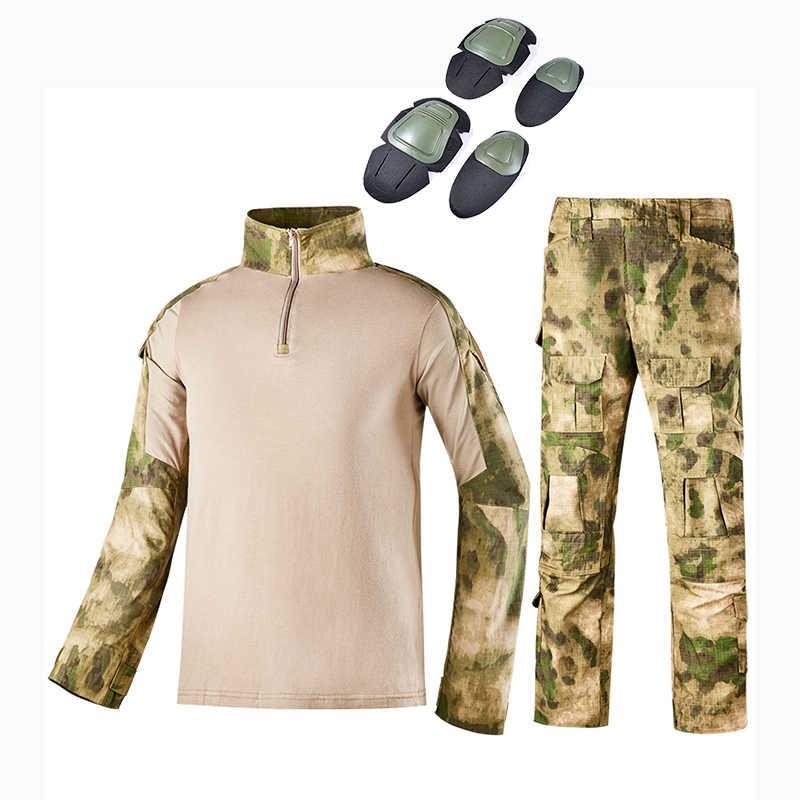 Тактический Камуфляж Военная форма Одежда Костюм Для мужчин армии США одежда рубашка в армейском стиле + штаны-карго наколенники