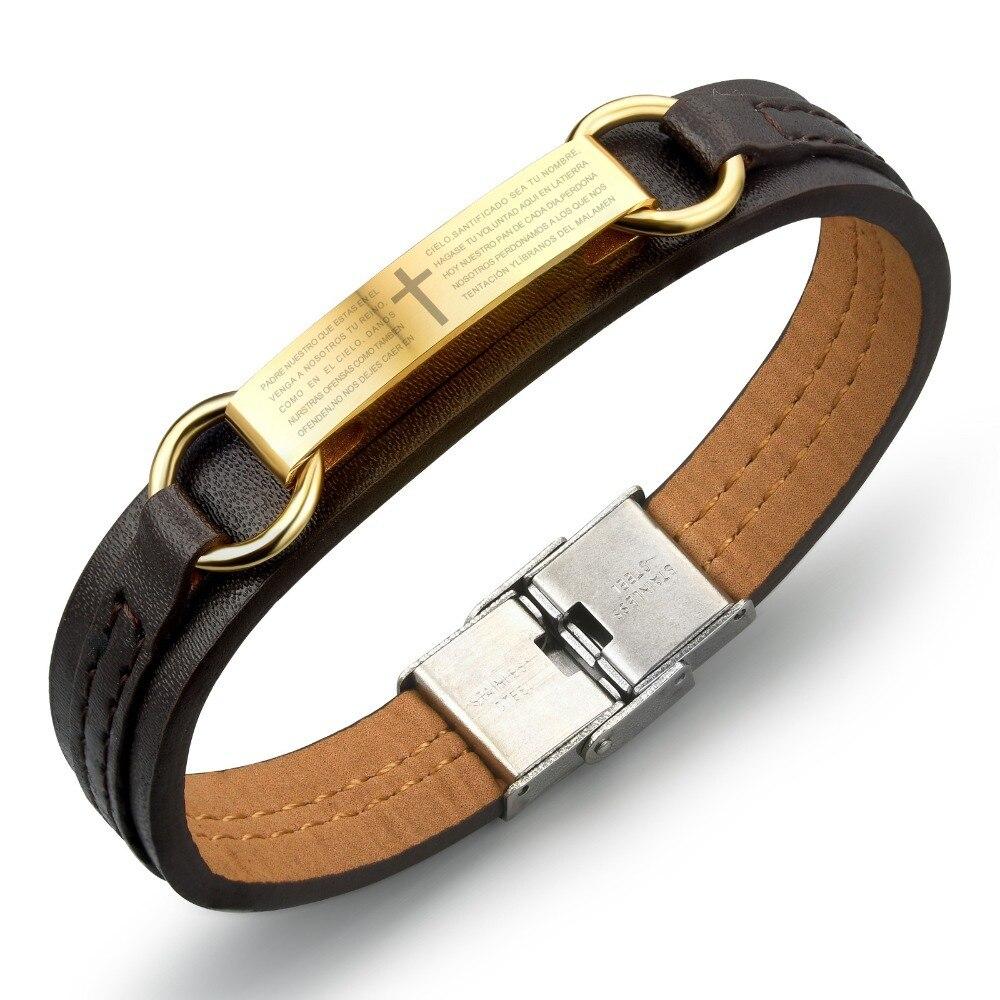 Genuine Leather Bracelet Men Stainless Steel Cross Gold Black Prayer In Spanish Ph962 Charm Bracelets From Jewelry