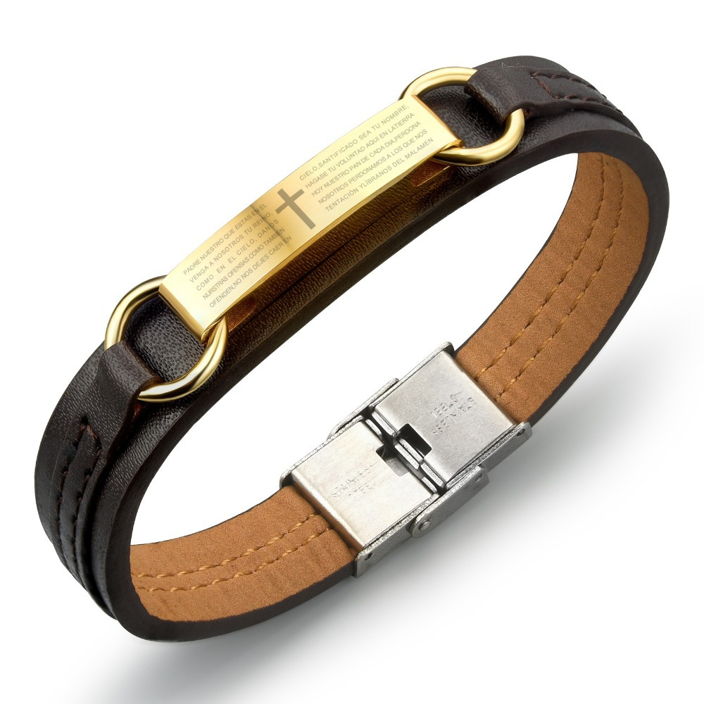 Genuine leather bracelet men stainless steel leather men cross bracelet gold black bracelet prayer in Spanish PH962