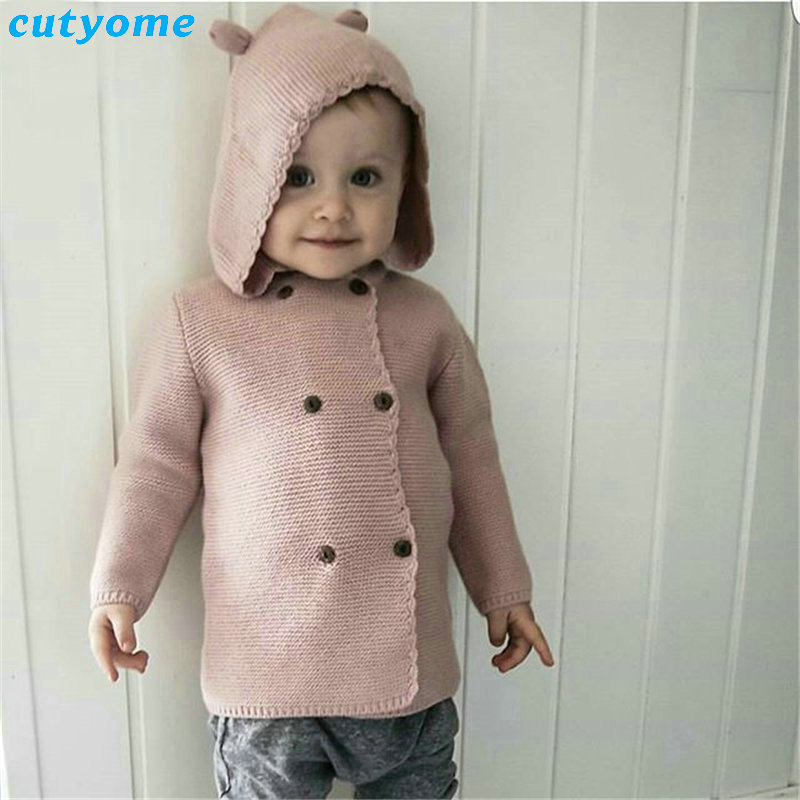 2017 Autumn/Winter Kids Girls Hooded Cardigan Double Breasted Cotton Sweater For Children Boy Baby Girl Soft Knit Jumper Clothes