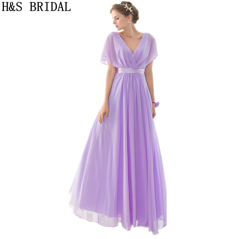 V-Neck Cap Sleeve   bridesmaid     dresses   long robe de soiree 2017 Draped Chiffon Prom Wedding party   Dresses   vestido de festa elegant