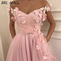 Элегантные розовые вечерние платья 3D цветы жемчуг с плеча платья для выпускного вечера Саудовская Аравия Вечернее Платье Vestido de festa