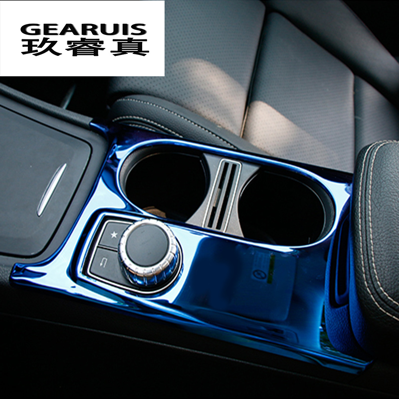 Car Styling Interior Stainless Steel Water Cup Holder Panel Decoration Trim For Mercedes Benz A GLA CLA Class W176 X156 C117 LHD