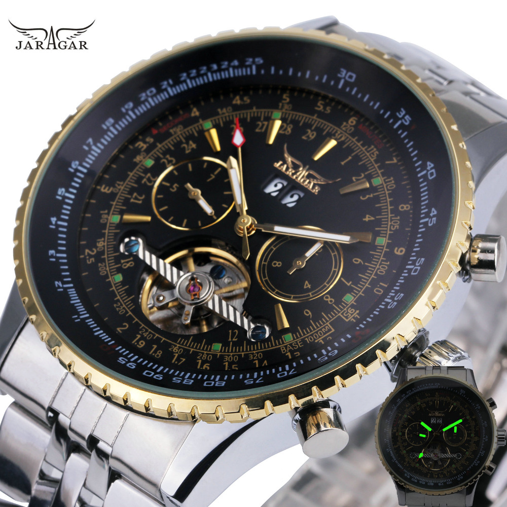 JARAGAR Top Brand Luxury Men Mechanical Watch Tourbillon Sub-dials Calendar Date Business Full Stainless Steel Wrist Watches Box jaragar top brand luxury auto men watches tourbillon 2 small working sub dials full steel 2018 new golden mechanical wristwatch