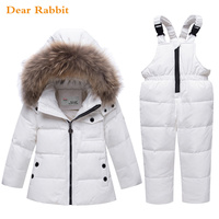 2018 new children spring winter down jacket parka real Fur boy baby overalls kids coat snowsuit snow clothes girls clothing Set