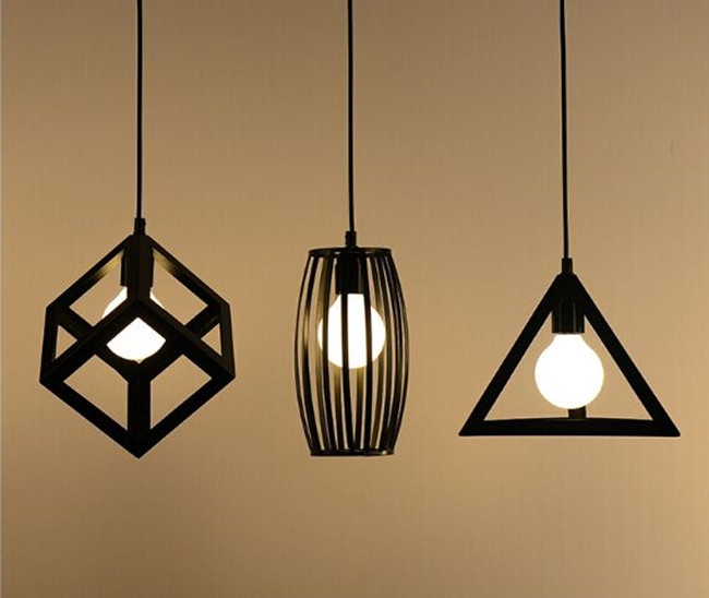 Buy vintage retro pendant lights lamp for Lampe suspendu noir