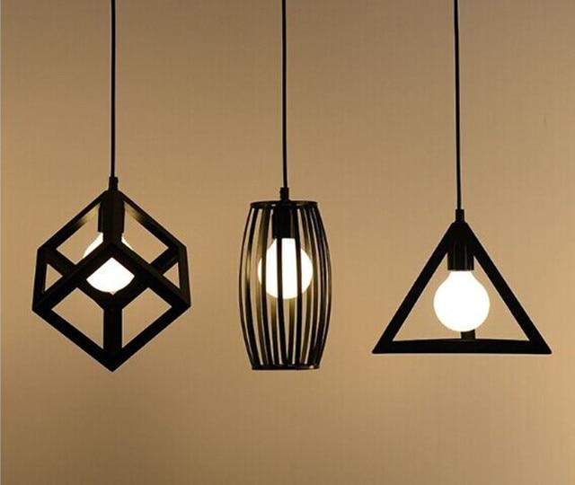 Vintage retro pendant lights l& metal cube cage l&shade lighting hanging light fixture & Vintage retro pendant lights lamp metal cube cage lampshade lighting ...