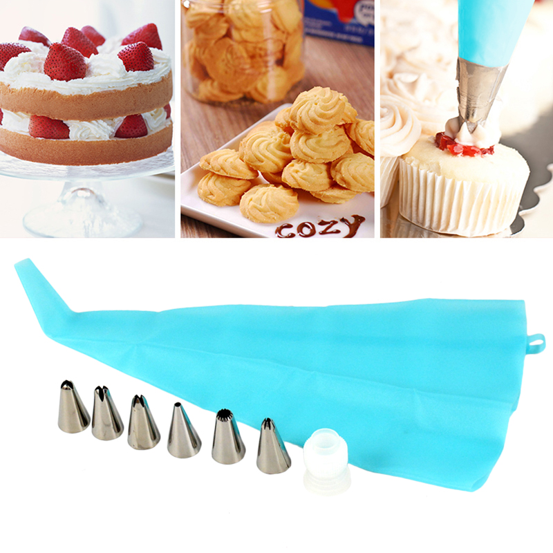 Cake Decorating Bags Homemade : Silicone Reusable Icing Piping Cream Pastry Bag + Nozzle ...