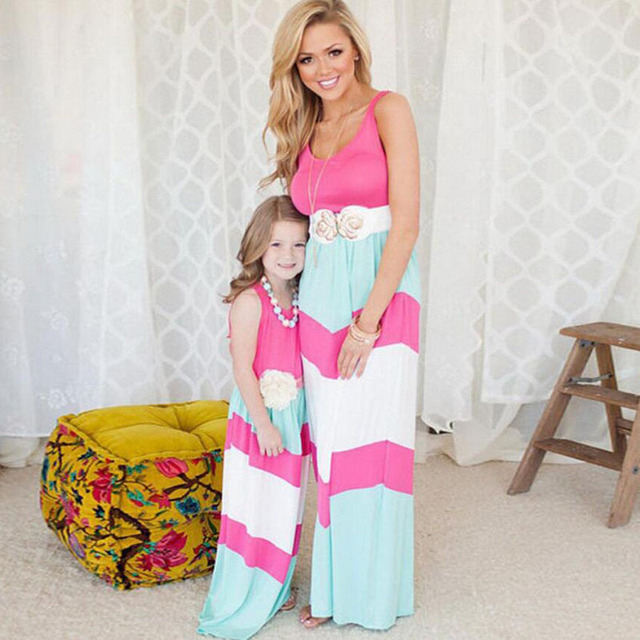 51f2608e852b 2019 summer Mother Daughter Dress stripe matching mother daughter clothes  Family look Mom And Daughter dress ropa mama e hija