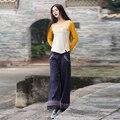 2017 Primavera Verão novas mulheres Calças de Algodão Casuais Calças de linho Calças Retas soltas Calças magros do sexo feminino Bordado Do Vintage WR397