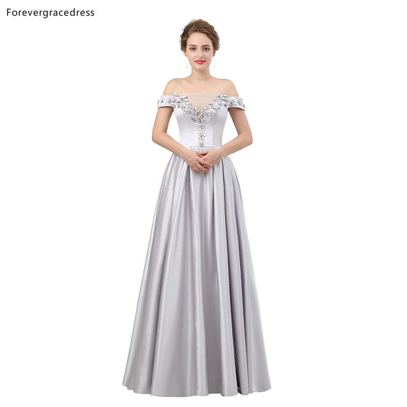 Forevergracedress Sexy   Prom     Dresses   2019 New Arrival Off Shoulder Long Satin Formal Party Gowns Plus Size Custom Made