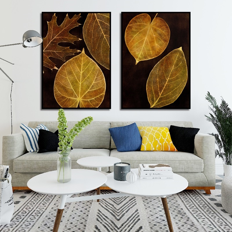 Nordic Golden Flowers Leaf Canvas Painting Poster Print HD Decor Wall Art Pictures For Living Room Bedroom Aisle Unique Plants in Painting Calligraphy from Home Garden