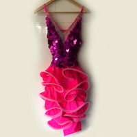 New latin dance costume sexy diamond sequins latin dance dress for children women latin dance competition dresses S 4XL F67