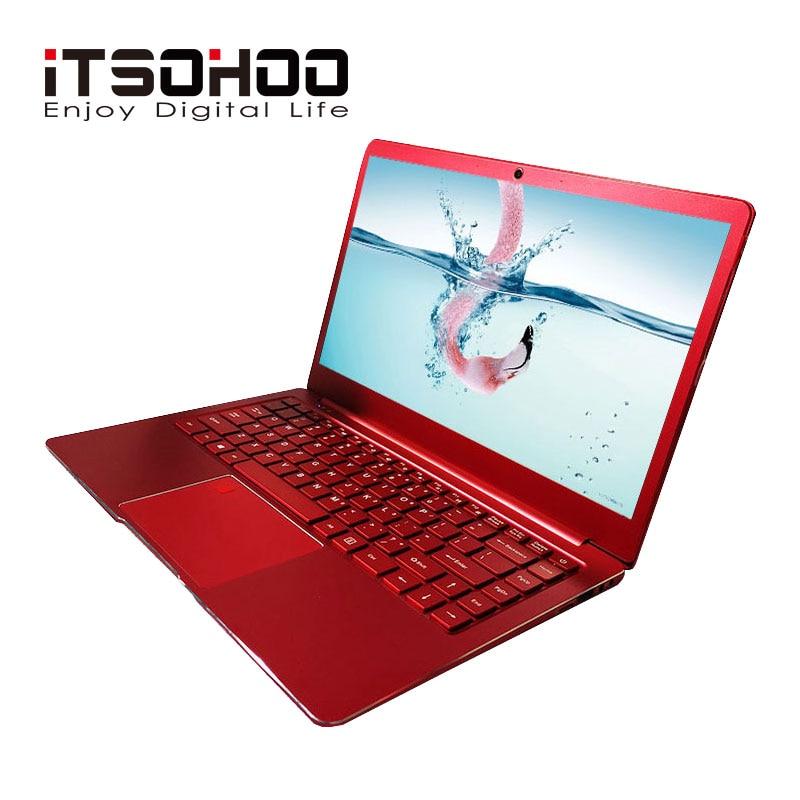 Polegada Windows 10 14 laptop Notebook computador Vermelho e Azul da cor do Metal 8 GB RAM intel gaming laptops iTSOHOO Quad core apollo ultrabook