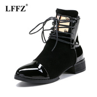 Lzzf Winter Red Black Genuine Leather Ankle Boots for Women Shoes Botines Mujer Punk Gothic Motorcycle Lace Up Boots Plus Size