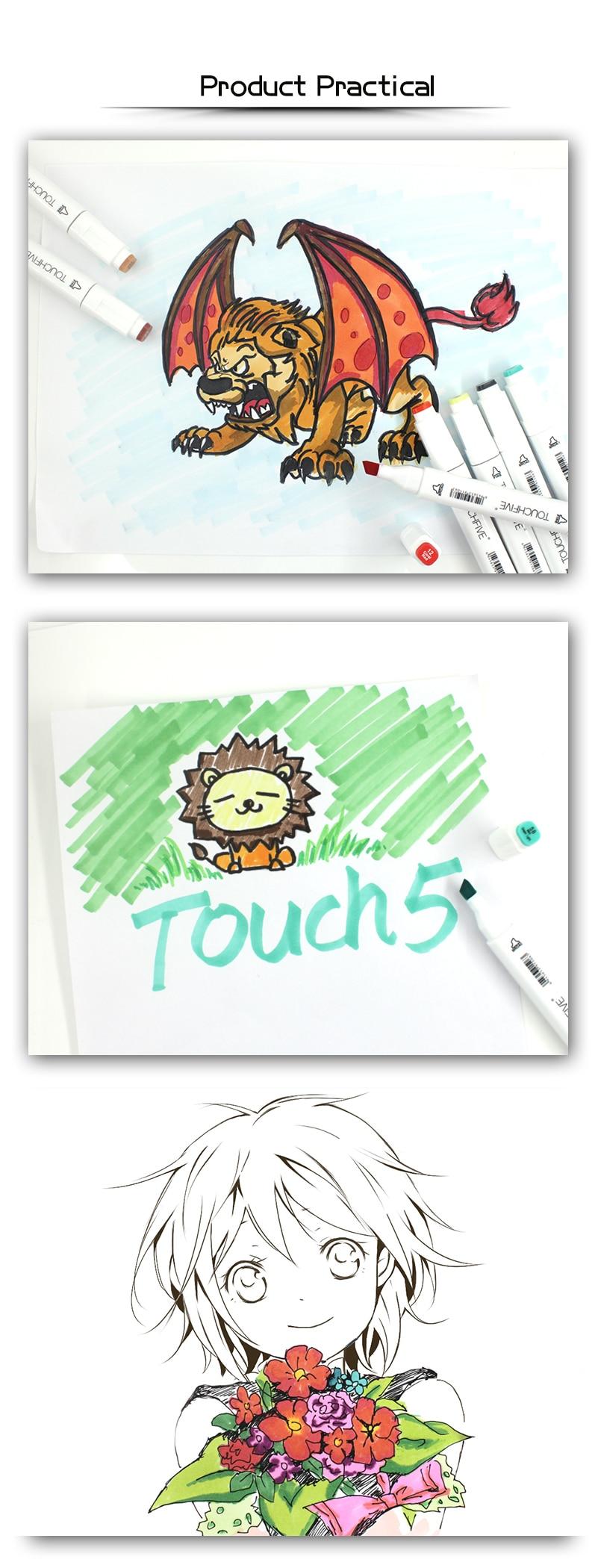 Touchfive marcador 406080168 cores caneta escova alcoólica