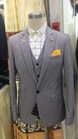 2018 New Brand gray Wedding Suits for Men Suits Slim Fit Groom Tuxedo 3 Pieces jacket pant vest in stock best man suit