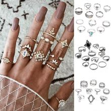 Fashion Crystal Ring Set Hollow Heart Wavy Moon Star Geometry Finger Gift Set for Women Vintage Party Knuckle Ring  Jewelry Gift vintage antique silver big black rhinestone ring ethnic star carving ring set hollow knuckle ring women jewelry