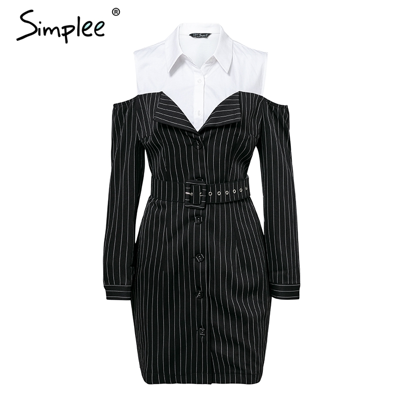 Simplee Elegant fake two piece stripe women dress Office lady sash long sleeve mini dress 18 Autumn winter blazer blouse dress 10