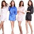 Alto Grau de Cetim Chiffon Manto Sólido Primavera Verão Mulheres Sexy Roupão Roupão Roupa Em Casa Sleepwear Roupões de Banho das Mulheres