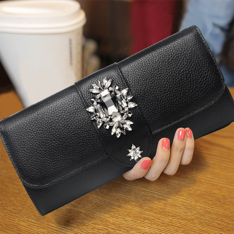 Luxurious Women Cow Genuine Leather Diamond Hand Bag Mini Messenger Bag Envelope Shoulder Evening Chain Bags Ladies Day Clutches цена