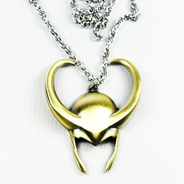 Marvel Thor Loki Helmet Pewter Avengers Metal Necklace Pendant Cosplay New