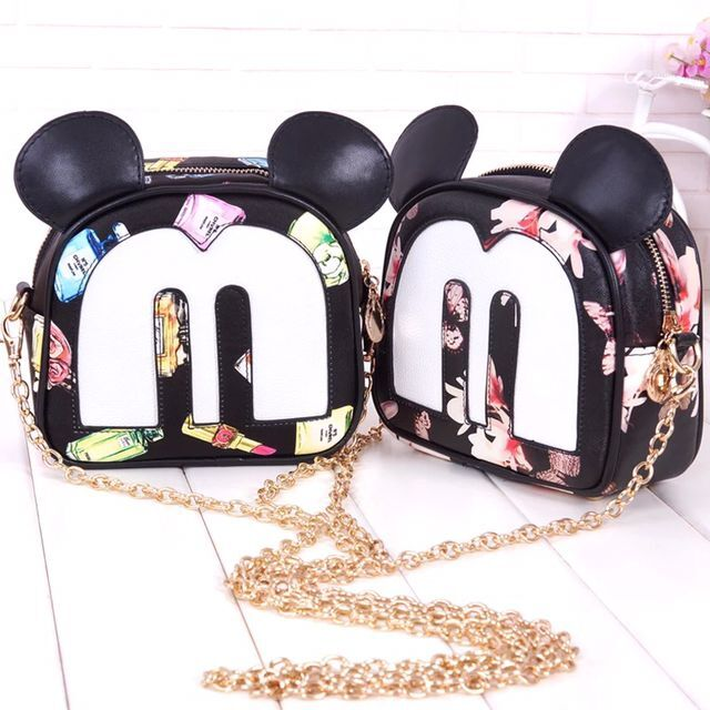 Moda Otoño nuevo coreano de alta calidad PU bolsos de cuero bolso de mujer pequeño cuadrado paquete dulce Mickey impresión bolso de hombro