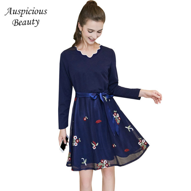Large Size Women  Dress 2018 Spring New Patchwork Gauze Elegant Floral Embroidered Slim Dress Female Party Dress Vestidos SUN206