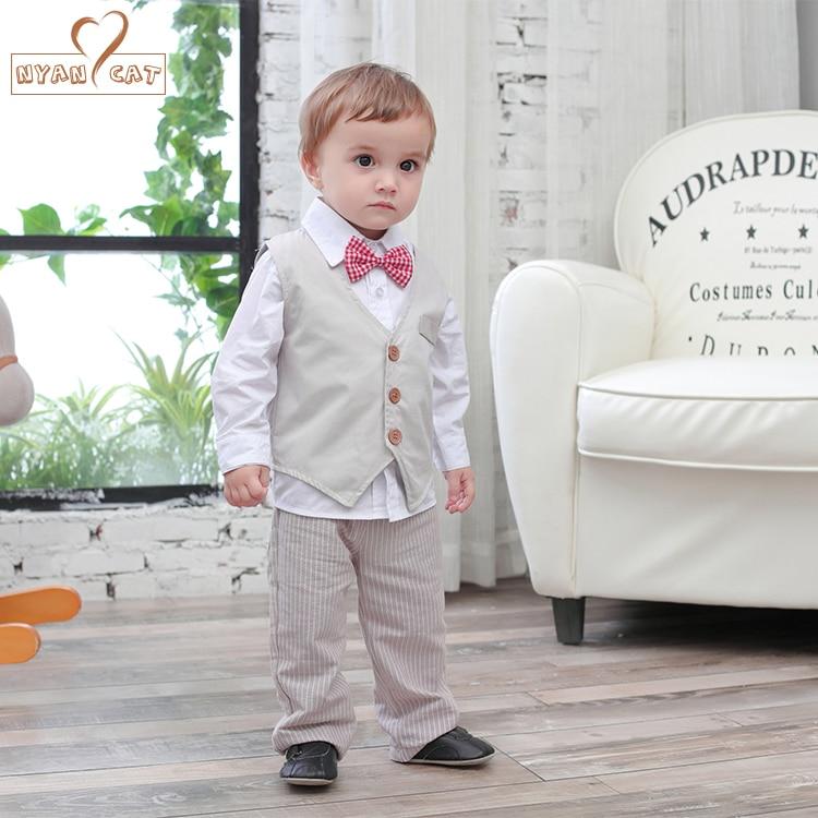 Nyan Cat Baby boys clothes gentlemen bow tie white shirt+kakhi vest+pants set wedding party birthday infant costume clothing цены онлайн