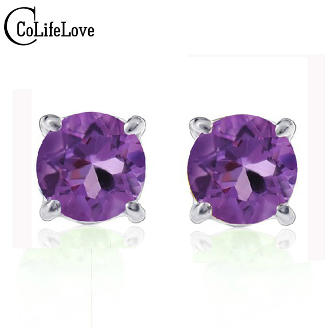 Hotsale amethyst crystal earrings 5mm*5mm natural amethyst gem solid 925 sterling silver stud earrings birthday gift for wife