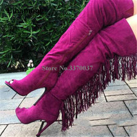 New Fashion Women Peep Toe Suede Leather Back Long Tassels Over Knee Boots Sexy Fringes High Heel Long Boots Charming Club Shoes