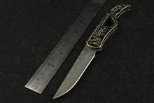 2016 Navajas Plum Blossom Folding Knife Outdoor Field With Authentic Damascus High Hardness Wilderness Survival Small Knives