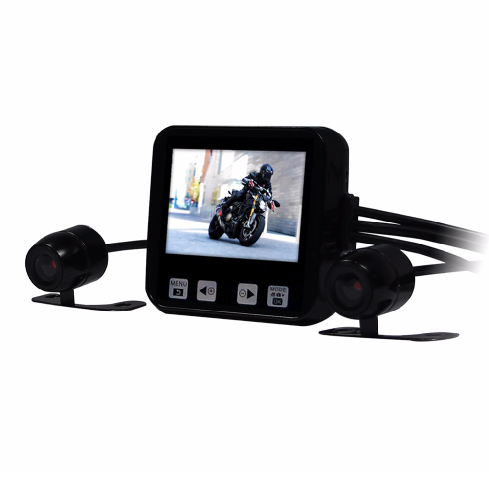 New Arrival C6 Motorcycle DVR 2.0 Touch Key Full HD 720P Waterproof Dual Cameras Car Dash Cam Support GPS and G-sensor