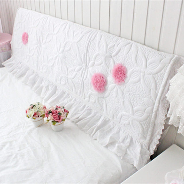 White Princess Bed Headboard Cover Wedding Decorative Embroidery Lace Cushion Flower Quilted Bedhead Board