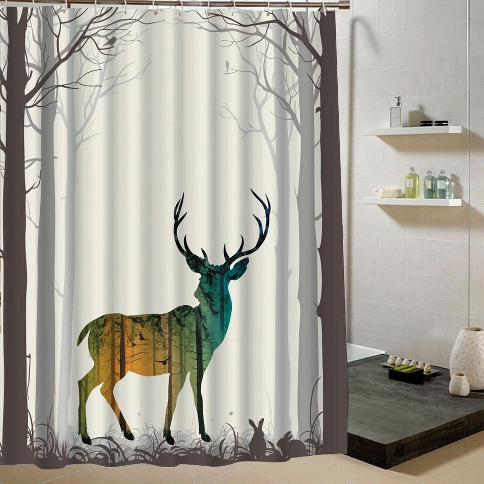 cute animal pattern shower curtain deer dog cartoon design bathroom curtain for bathroom decor. Black Bedroom Furniture Sets. Home Design Ideas