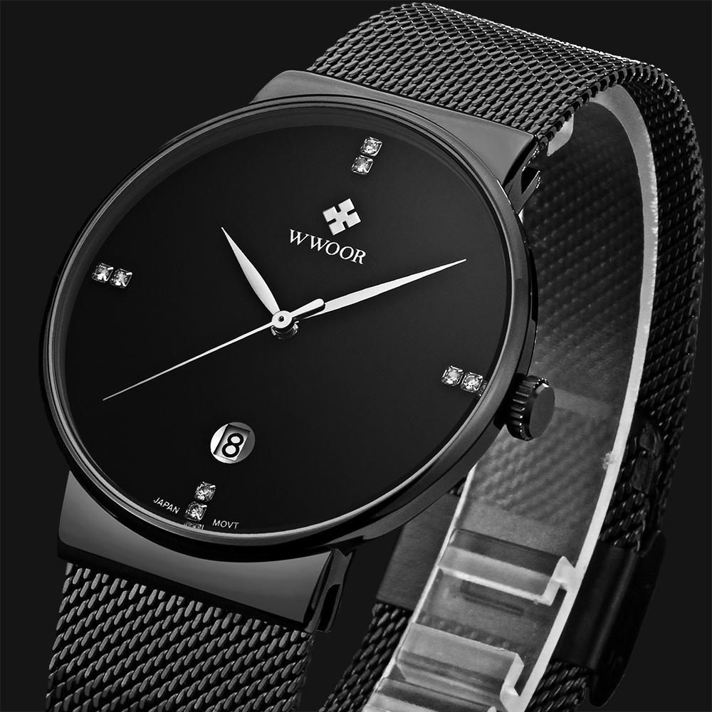 Prix pour WWWOOR Mode marque De Luxe Montres hommes Acier Inoxydable Maille bracelet À Quartz montre Ultra Mince Cadran Horloge Hommes de Montres étanches