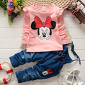 BibiCola spring Autumn baby girls Set Minnie mouse T-shirt & Denim Overalls Children cartoon Clothing Set kids clothes set girls