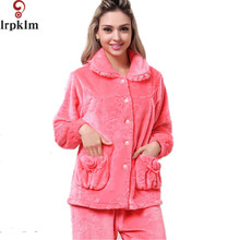 973f8db0b8 Thick Coral Fleece Plush Winter Warm Women Lounge Pajama Sets Lovely Lace  Hem Flannel Long Pyjamas