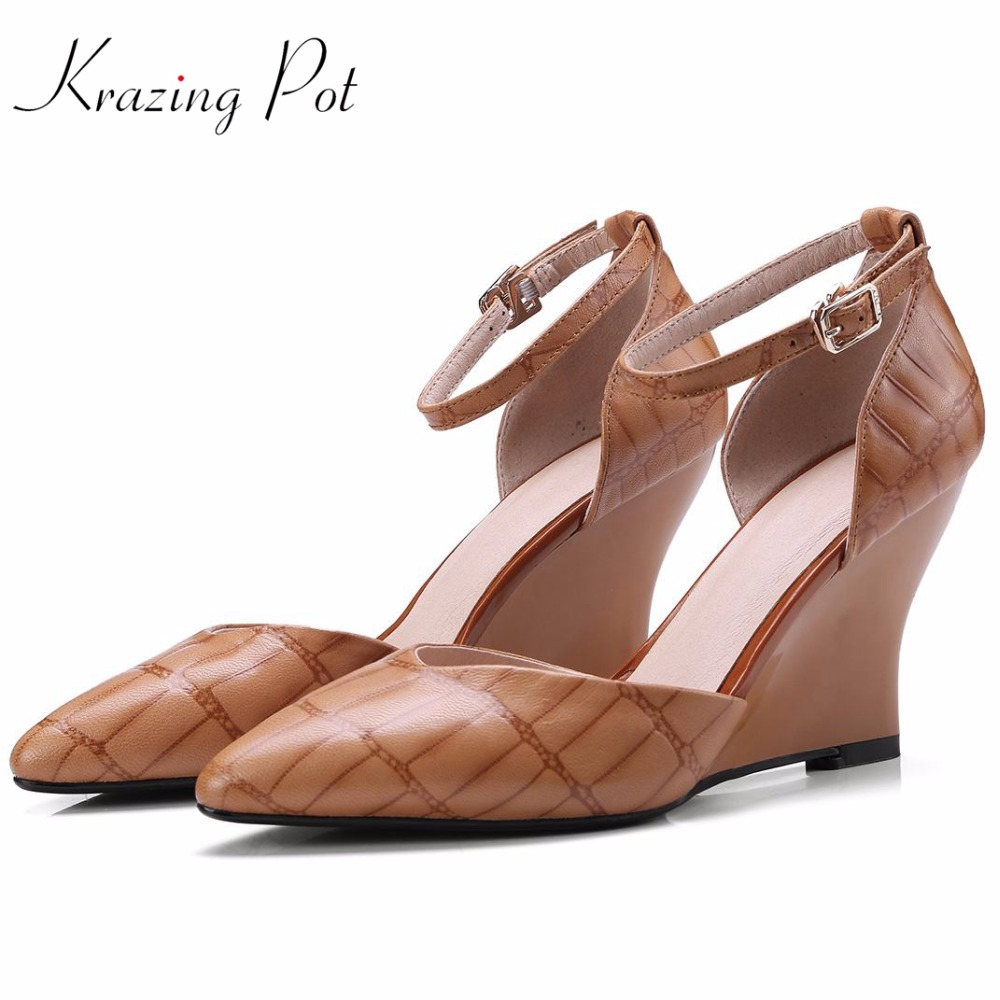 Krazing pot 2018 summer color fashion sheep skin wedges high heels shallow pumps pointed toe ankle straps brand shoes women L03 цена