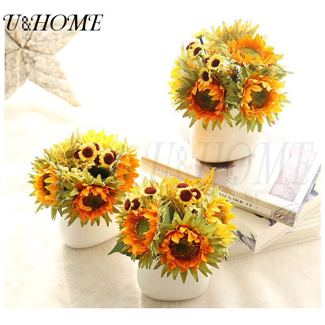 Artificial silk flower mini fake sunflower high quality for home artificial silk flower mini fake sunflower high quality for home arrangements wedding party decoration real touch mightylinksfo