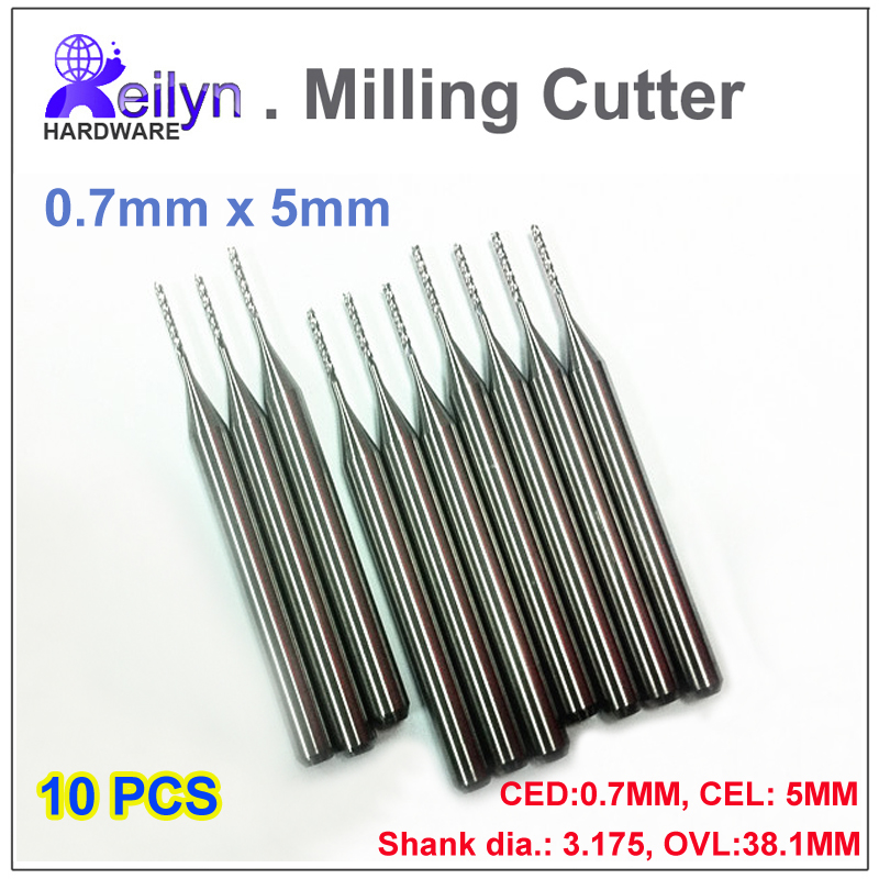 10pcs 0.7x5x3.175mm PCB milling cutter Carbide end mill CNC cutter rountering tool mini drill bit Tungsten Carbide PCB router 1pc 8 35mm good qualtiy tungsten steel carbide end mill engraving corn teeth bits cnc pcb rotary burrs milling cutter drill bit