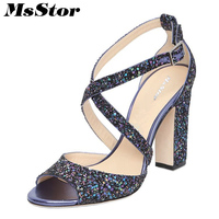 MsStor Peep Toe Sandals Shoes Woman Fashion Metal Buckle High Heels Sandals Women Shoes Bling Zapatos