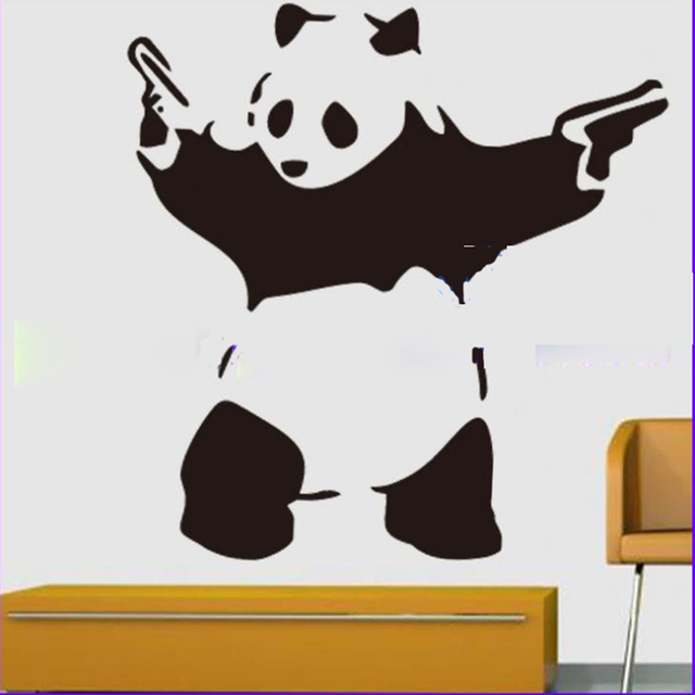 2016 new wall sticker large bedroom panda gangster guns wall art decal vinyl sticker for bedroom