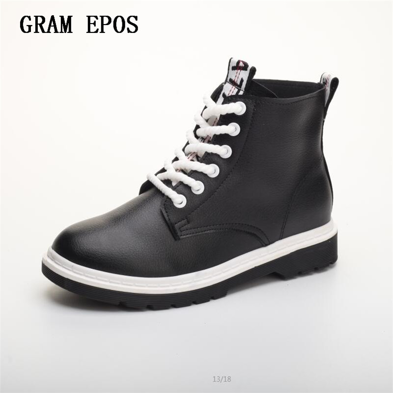 GRAM EPOS 2017 Women Fashion Vintage Pu Leather Shoes Female Spring Autumn Platform Ankle Boots Woman Lace Up Casual Boots front lace up casual ankle boots autumn vintage brown new booties flat genuine leather suede shoes round toe fall female fashion