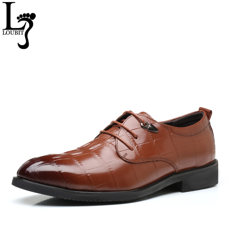 Men Formal Business Shoes 2018 Split Leather Oxfords for Men Alligator Dress Wedding Shoes  Office Male Oxford Shoes