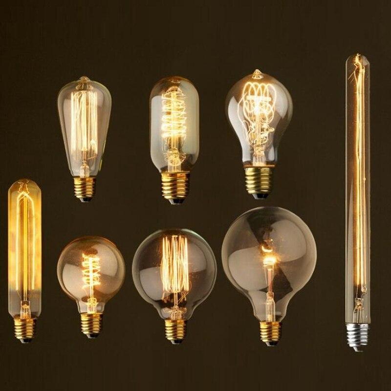 빈티지 에디슨 전구-40 w 110 v/220 v e26/e27 골동품 스타일 백열 지우기 디 밍이 가능한 전구 luminaire