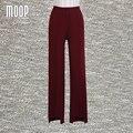 Вино красный костюм брюки OL стиль высокой талии прямые брюки брюки полные штаны pantalon femme pantalones mujer LT587 бесплатная доставка