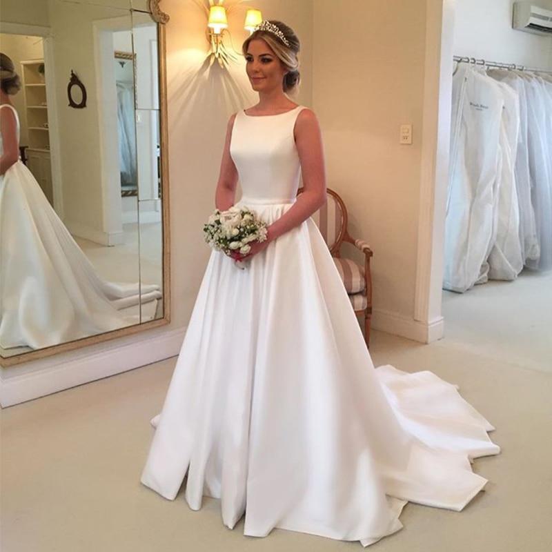 Elegant A-line Wedding Dresses Sleeveless White Ivory Satin Backless Bridal Dress Custom Made Vestido De Casamento Sweep Train